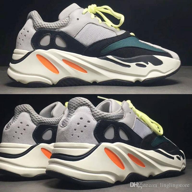 074213cbd70 Compre Adidas Yeezy Boost 700 2018 Onda De Desconto Corredor De 700 Kanye  West Tênis De Corrida Cinza Laranja Branco OG B75571 Homens Mulheres Tênis  De ...
