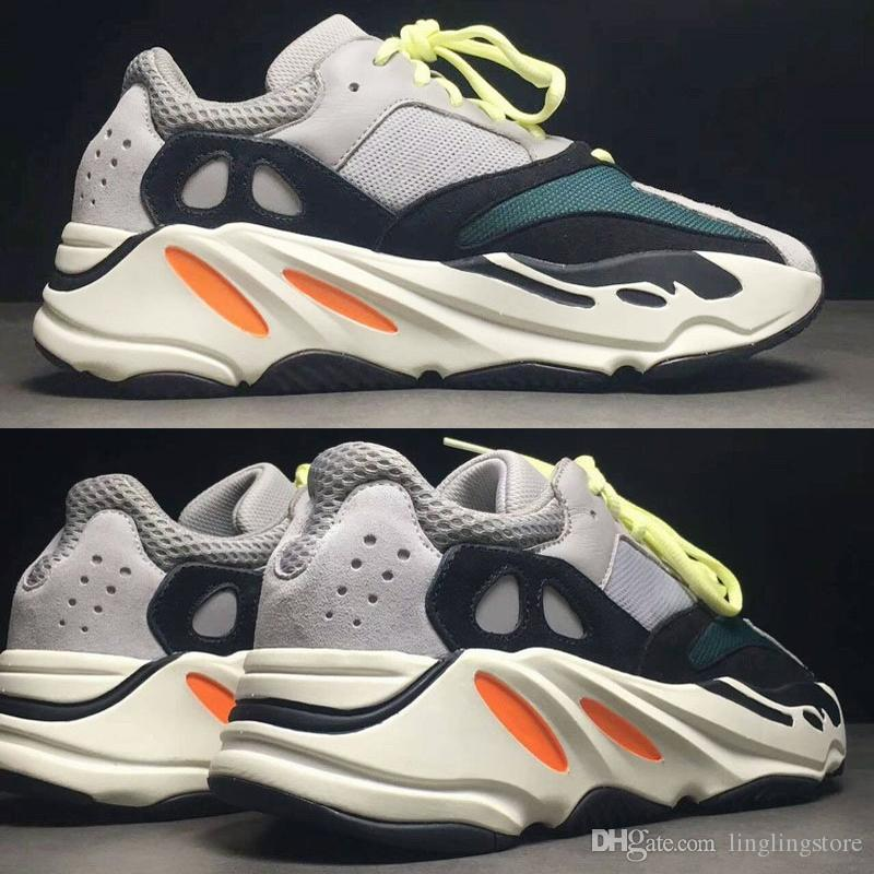 on sale 8b2a1 62f8e Adidas Yeezy Boost 700 2018 Remise Wave Runner 700 Kanye West Chaussures de  course Solid Grey Blanc Orange OG B75571 Hommes Chaussures de course à ...
