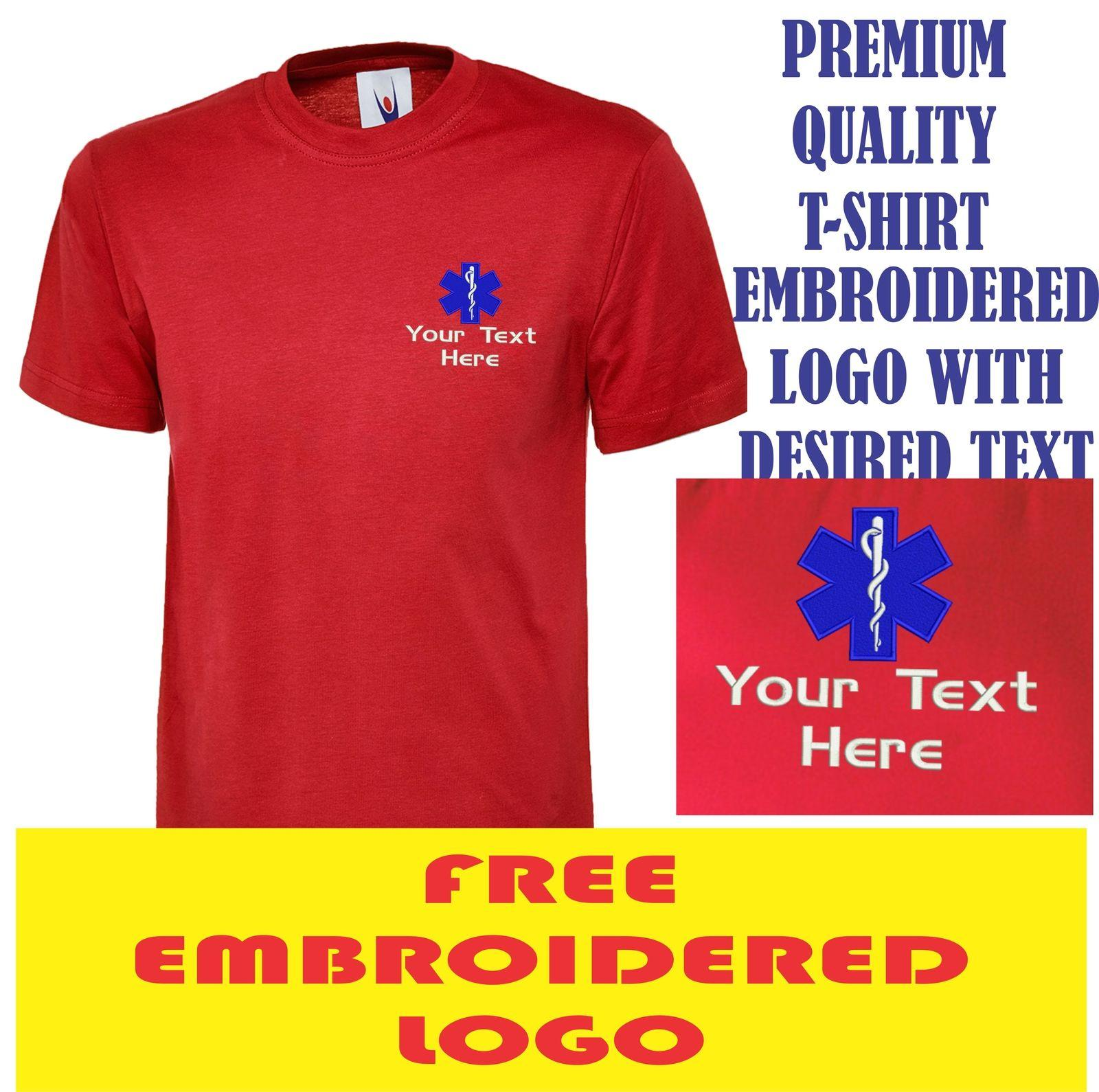 Personalised Star Of Life Logo Embroidered T Shirt Medical Nhs