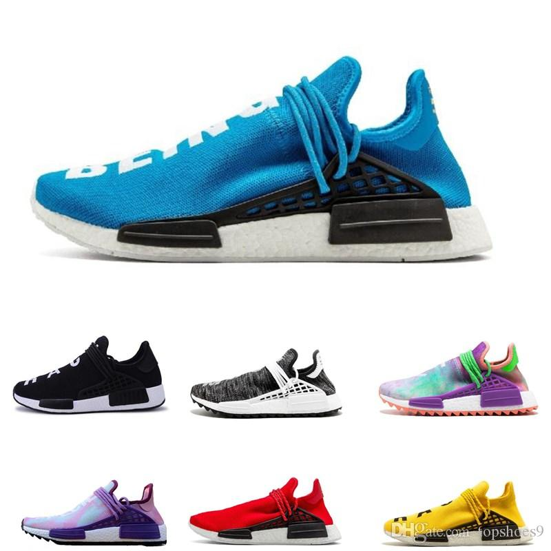 75fdd213a Fashion NMD Human Race Pharrell Williams Running Shoes Holi Equality Blank  Canvas Core Black Sun Glow Yellow Red Trainers Sports Sneakers Running ...