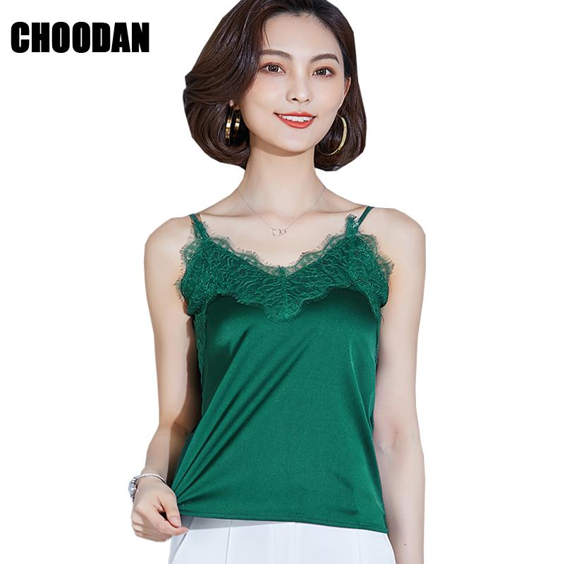 f184968261463 2019 Satin Camis Sexy Lace Patchwork Tank Top Summer Fashion New 2018  Sleeveless Spagheti Strap V Neck Women Tops Ladies Basic Shirts From  Piterr