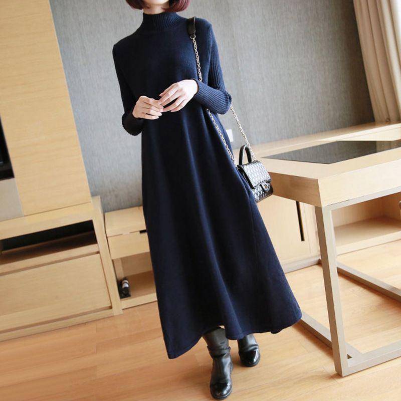 ad0314a70 BEENI 2018 New Vintage Turtleneck Knitting Full Sleeve Women Dress ...
