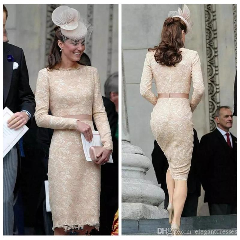 2018 O-Neck Elegant Kate Middleton Champagne Lace Evening Dresses Knee Length Lace Long Sleeve Celebrity Cocktail Formal Gowns Custom