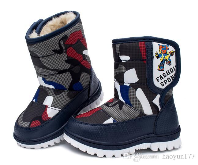 13ccb351b0bc 2018 Snow Boots Kids Winter Boots Boys Waterproof Shoes Fashion Warm Baby  Boots For Boys Toddler Footwear Girls Winter Boots Size 4 Boys Toddler  Cowboy ...