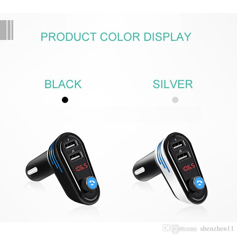 AP02 Car Charger Dual USB FM Hands-Free Calling Bluetooth 4.2 Audio Noise Reduction Support U disk Player and Charging for Phone OTH168