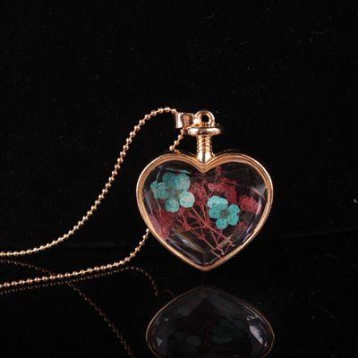 Kalp şekli lampwork cam kolye aromaterapi kolye kolye takı kuru çiçekler parfüm şişesi şişe kolye kolye