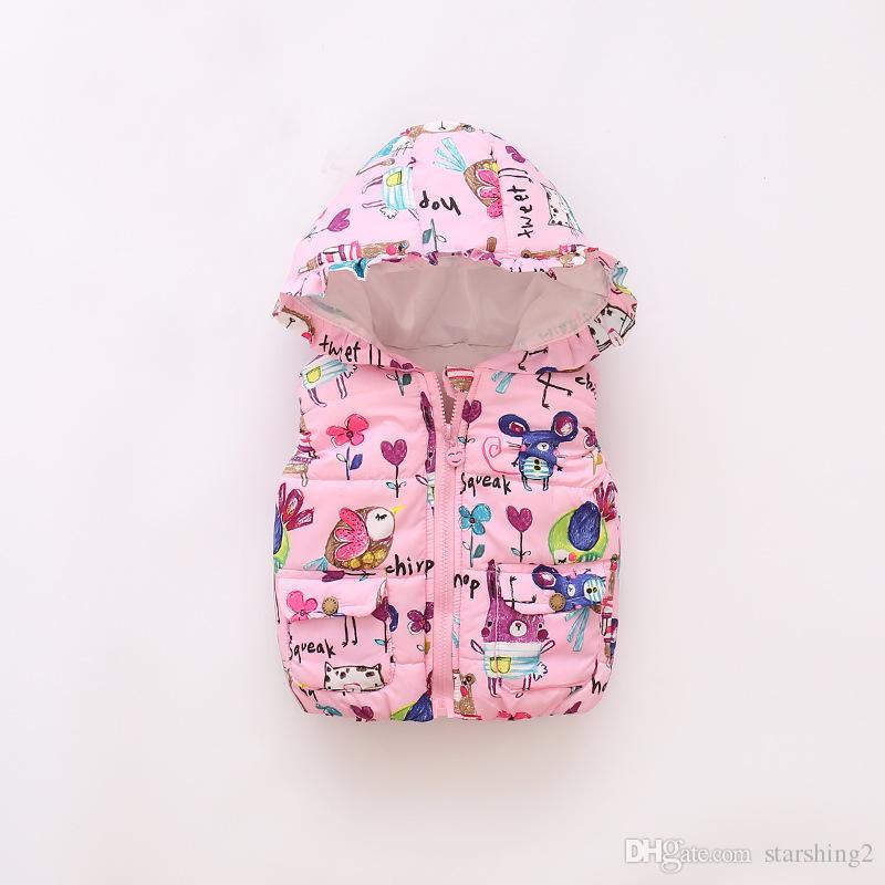 0f9eb4951fa7 Girls Lovely Waistcoat Fashion Animal Graffiti Kids Winter Thicken ...