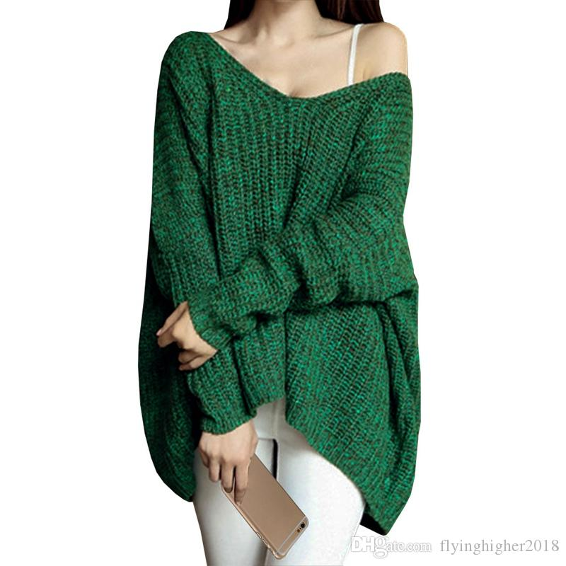 2019 Autumn Winter Sweater Women Deep V Neck Bat Sleeve Loose Oversized  Pullovers Solid Jumper Knitted Basic Sweaters All Match From  Flyinghigher2018 673f172dc