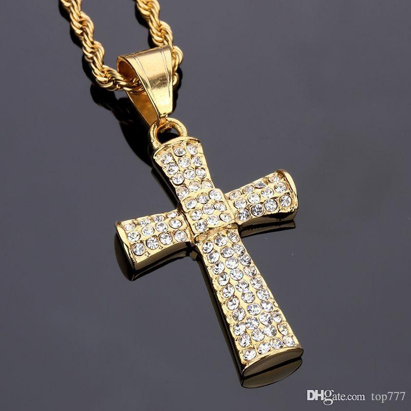 Wholesale 2018 stainless steel rhinestone crystal cross pendant wholesale 2018 stainless steel rhinestone crystal cross pendant necklace chain gold christian jewelry religious cross for women men gift aloadofball Image collections