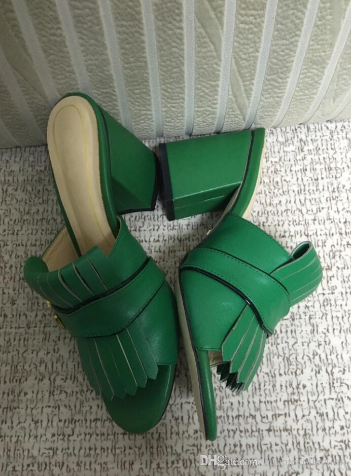الأزياء 2019 وصول المرأة الجديدة الكعب العالي الصنادل الجلدية الناعمة عارضة سوداء من جلد الغزال الأحذية صندل سيدة كعب في الهواء الطلق حجم كبير 42 41 40 الخضراء