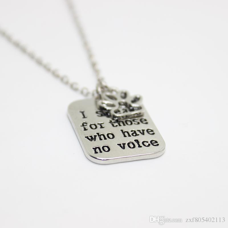 "hand stamped Necklace I speak for those who have no voice""pendant Necklace, paw print charm necklace dog lover jewelry"