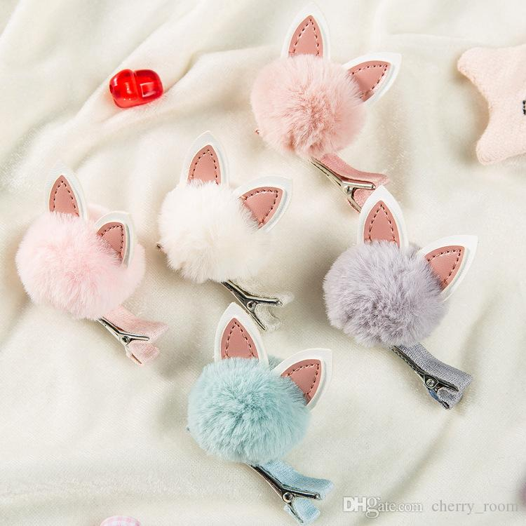 Rabbie Ohr-Prinzessin Hairs Pin Cartoon Haarclip Orean Pompon Kinder Haarschmuck Korean Bunny Ears Kids Haar Bögen C3215