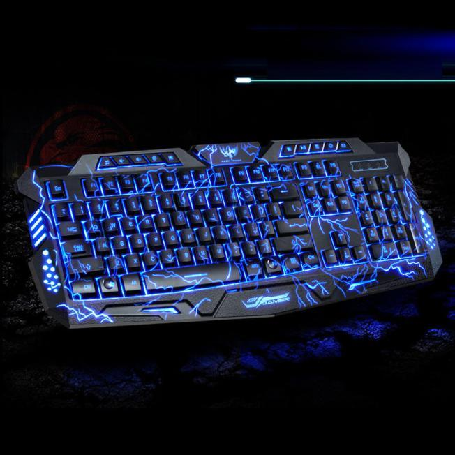 Tri Color Backlit Computer Gaming Keyboard Usb Powered