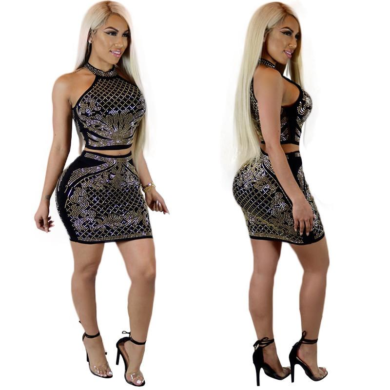 2019 Rhinestone Two Piece Dresses Women New Fashion Embellished Crop Top  And Mini Skirt Set Party Nightclub Outfits Sexy Sets From Vanilla01 efd1a834d976