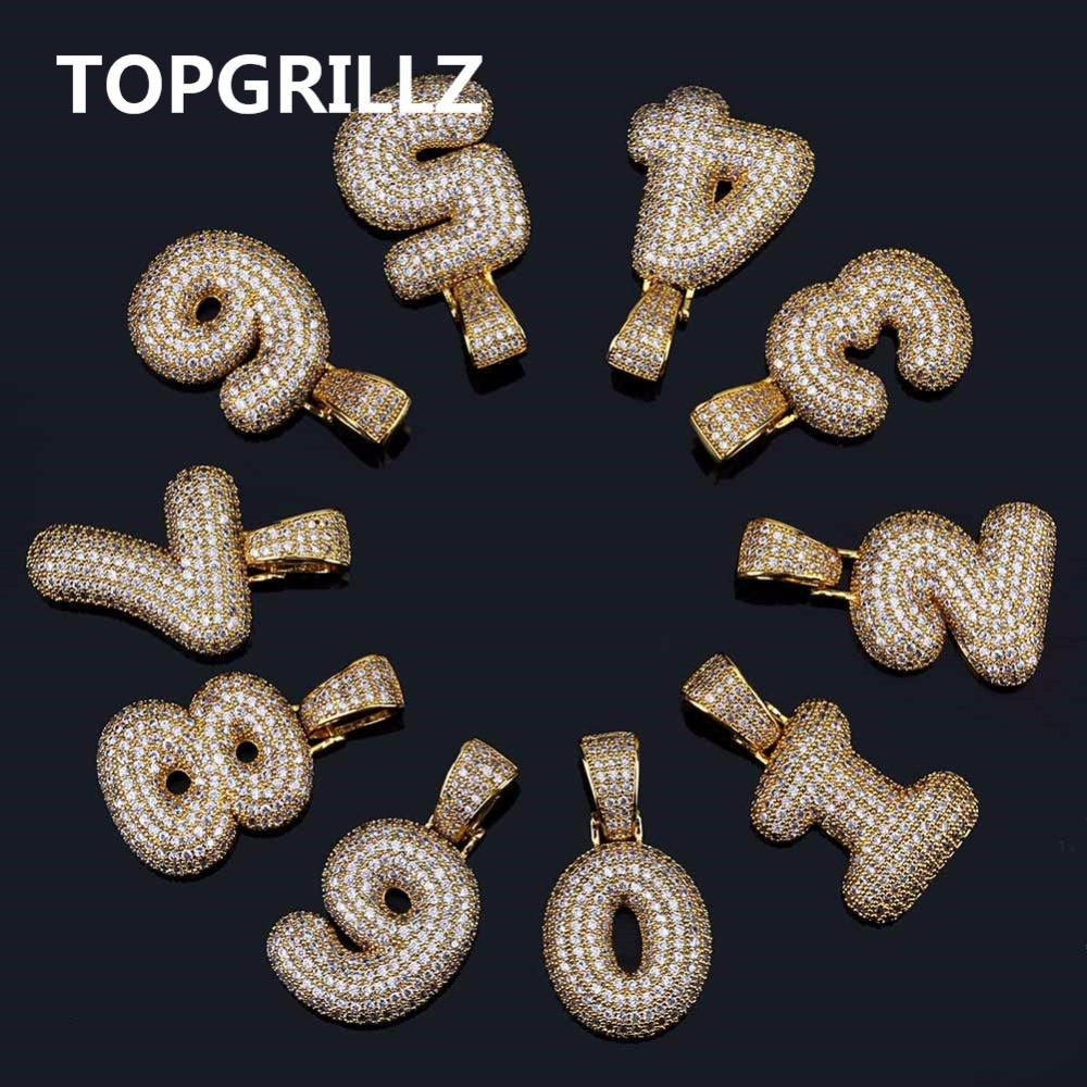 4fa5a8594bff TOPGRILLZ Hip Hop Hombres Mujeres Encanto 0-9 Nombre Personalizado Números  de Burbujas Collares Colgante Oro Plata Color Cubic Zircon Gargantilla ...