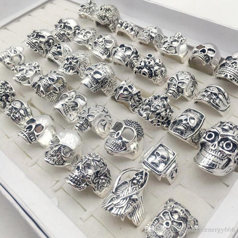 Nouveau crâne sonne / gothique style steampunk argent plaqué hiphop bijoux pour hommes taille 17cm à 22cm cadeaux de mode pour homme