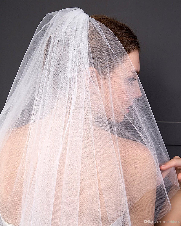 2018 Yeni Kısa Gelin Veils Tarak Ile Yumuşak Tül Beyaz Fildişi Peçe Düğün Gelin Aksesuarları Için Ucuz Stokta Ücretsiz Kargo