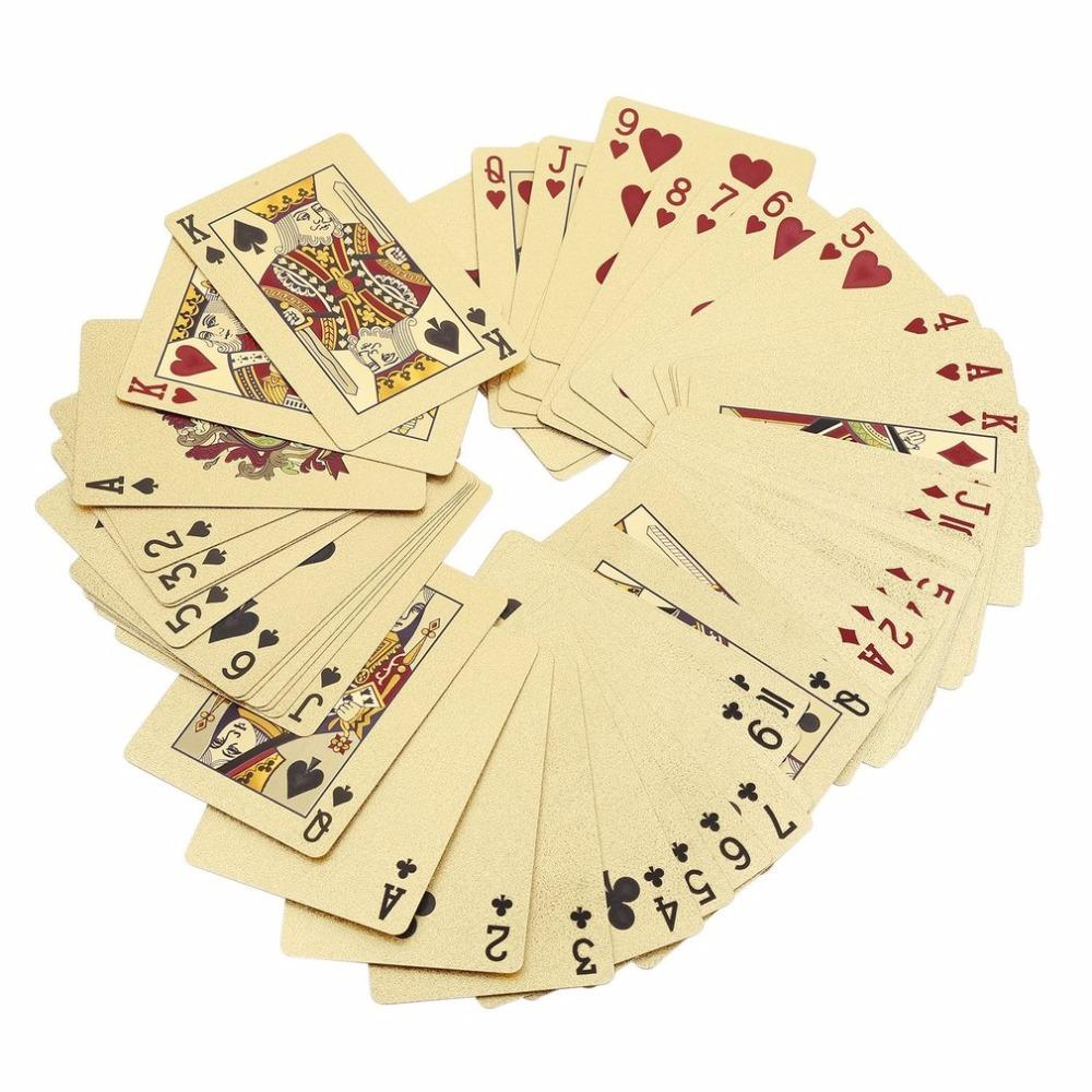 Poker Cards PET/PVC Waterproof Plastic Luxury Foil Plated Playing Cards Party Games Grid /Euro Single-Side Color Edition new