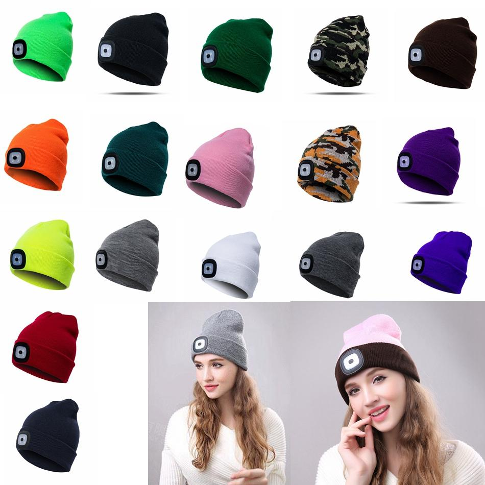 afa4f575f2e LED Light Hat Winter Warm Button Battery Type Beanies Elasticity Knitted Hat  For Men And Women Outdoor Beanie Ball Caps GGA1016 Cheap Hats Richardson  Caps ...