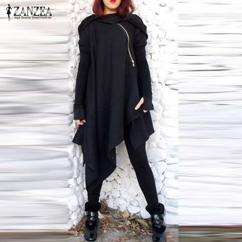 514cdf0d403 2019 2018 ZANZEA Women Fashion Hooded Long Sleeve Poncho Pullover Zip  Irregular Hem Loose Casual Autumn Cloak Sweatshirt Plus Size From  Sugarlive