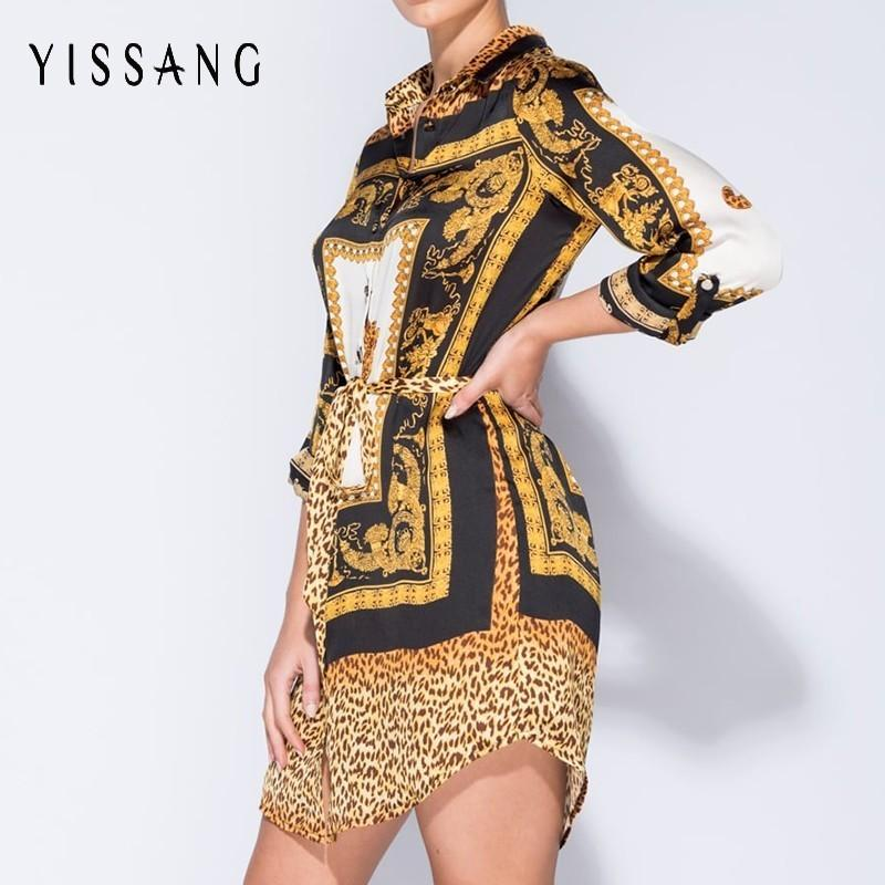 Yissang Leopard Women Dress Chic Casual Sexy Mini Dresses 2018 Summer  Autumn Elegant Party Ladies Dress Maxi Dress Red Dress From Wenshicu 00386f05a
