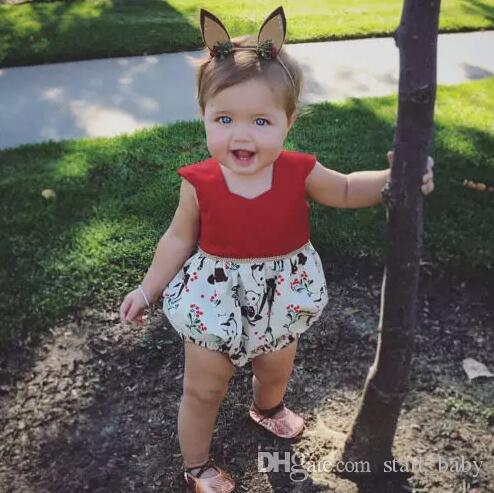 7d45628220 2019 Summewr XMAS Deer Baby Girl Romper Kid Jumpsuit Clothing Short Sleeve  Bodysuit Cute Girls Red Toddler Flower Rompers Suits Girl Onesies B11 From  ...