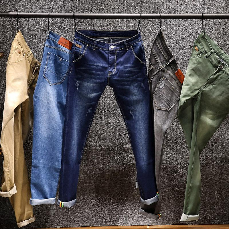 Vert Slim Marque 2018 Kaki Skinny Hommes Mode Fit Couleur Nouvellement Élastique Bleu Classique Crayon Coton Jeans Pantalon TJKl1c3Fu