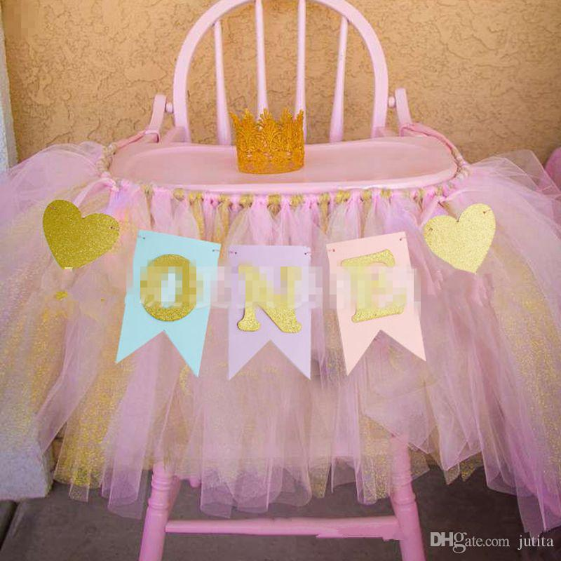 Boy Girl First Birthday Party Baby Chair Flag Banner Pink Blue One Year Old Hanging Bunting Party Decoration