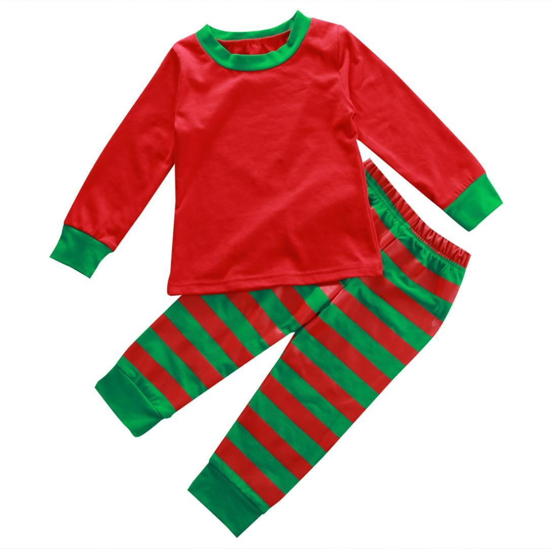eb5a29a6c1a6 2016 Xmas Chrisatmas Kids Baby Boys Girls Long Sleeve To+Striped ...