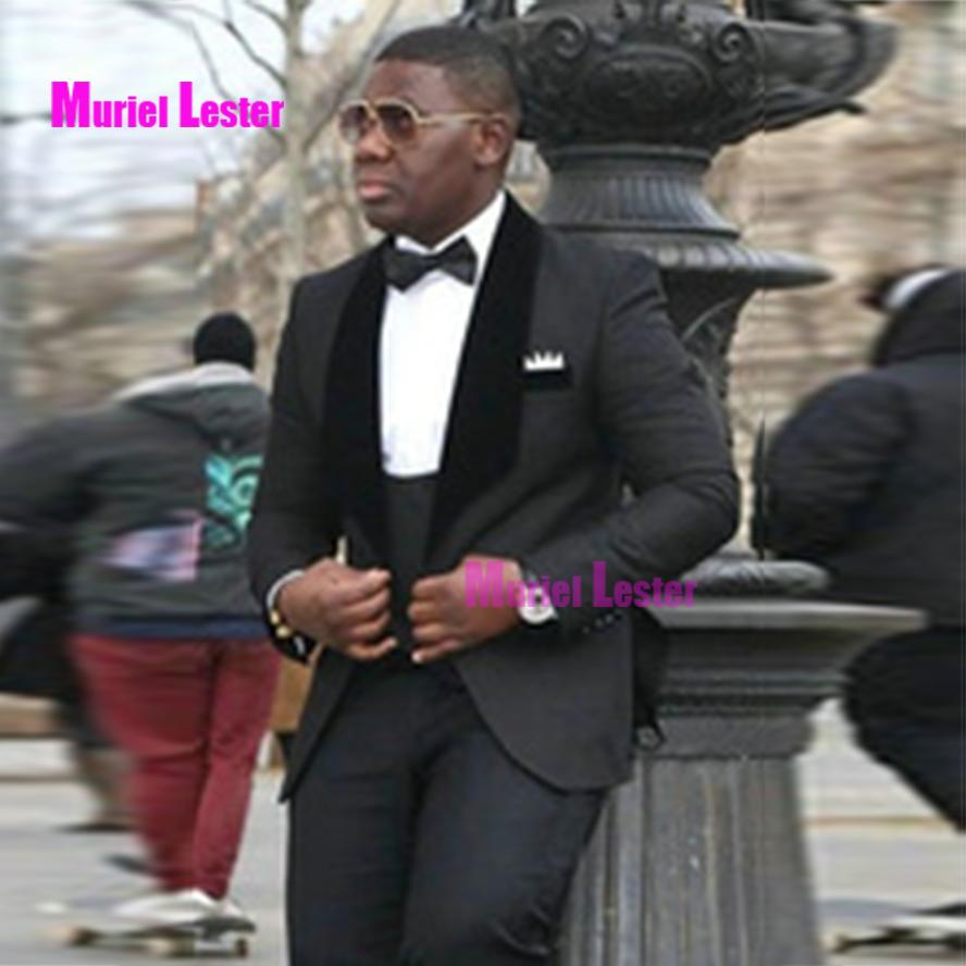 9f24e343a9 2019 Muriel Lester Black Business Mens Suits For Wedding Groom Tuxedos  Shawl Lapel Slim Fit Custom Male Blazer Jacket Pants From Macloth, $151.54  | DHgate.