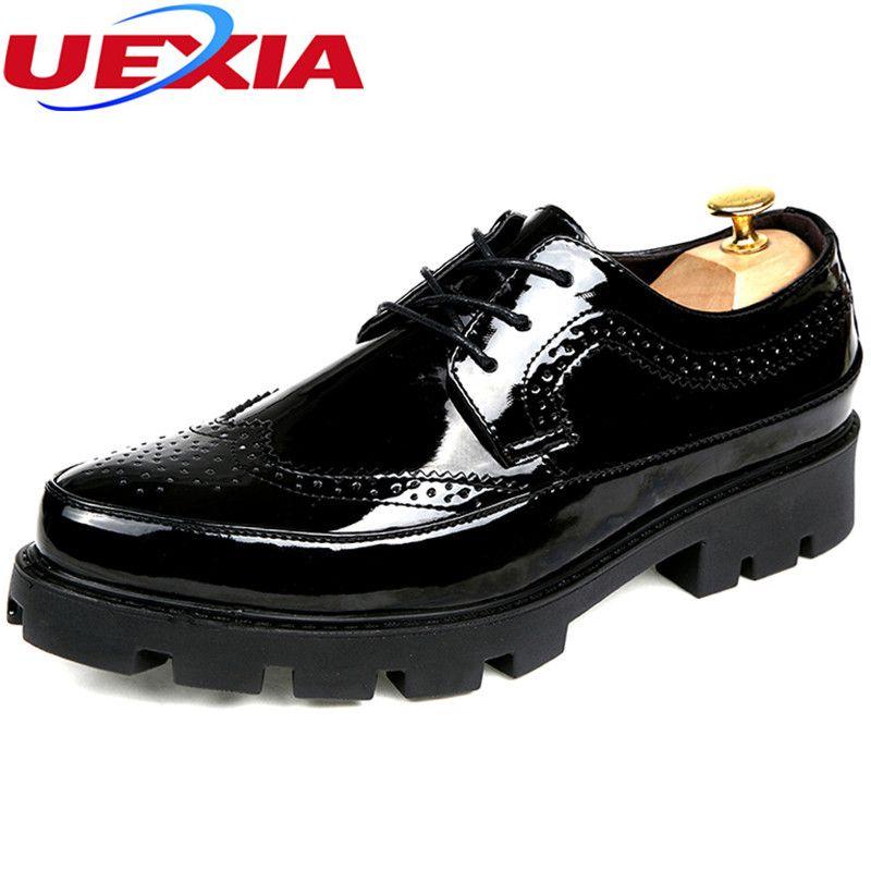 4e206397b937a Compre Parte Inferior De Poliuretano Incremento Brillante Negro Cuero  Hombre Pisos Zapatos De Negocios Marca Hombre Zapatos Vestido Hombre Zapatos  Oxfords ...