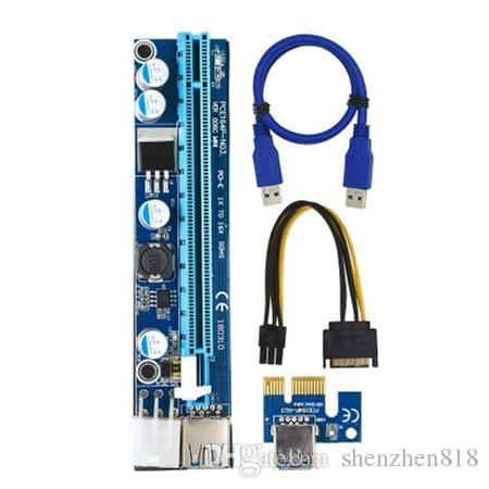 New VER 006C PCI-E PCI E Express 1X to 16X Riser Card +USB 3 0 Extender  Cable SATA 15 Pin 6 Pin Power Cable 60CM for bitcoin mining