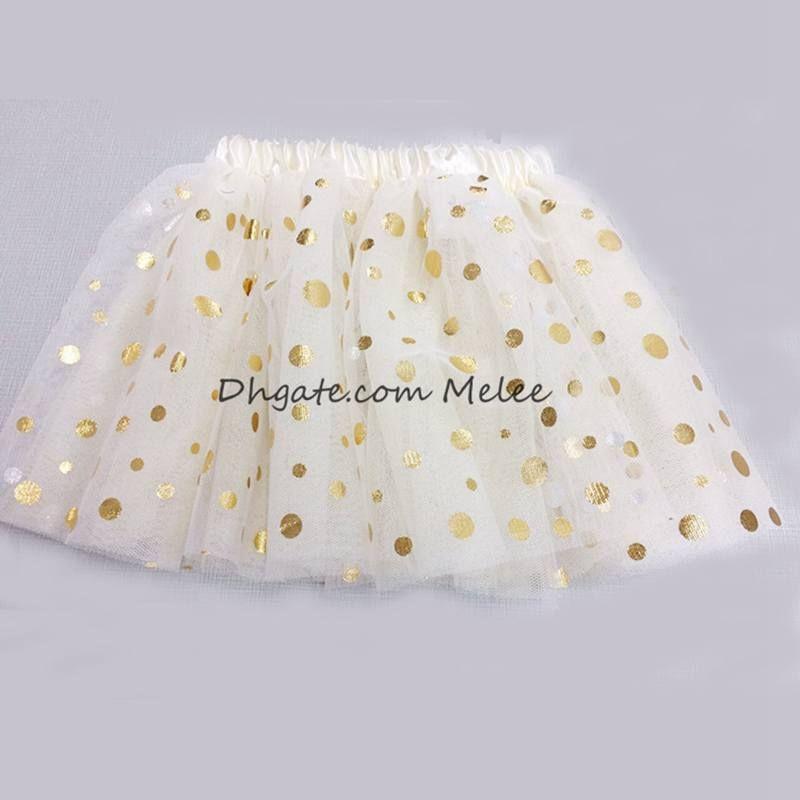 Ins Kinder Gold Dot Tutu Kleid Mädchen Polka 3 Schichten Tutus Skrits Säugling Pettiskirt Neugeborenen Fotografie Requisiten 0-8years, wählen