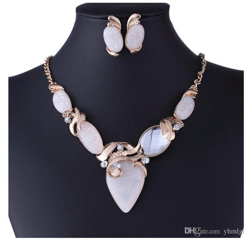 11 стиль Женщин Кристалл Цветок Подвеска Коренастый Воротник Заявление Серьги Ожерелья