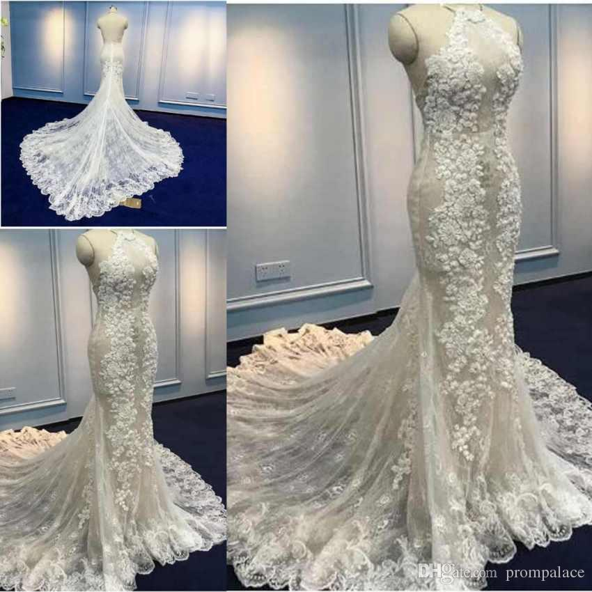 6afbeed90493f New Lace Pattern Wedding Dresses Halter Neck Sleeveless Sexy Backless  Vintage Plus Size Long Mermaid Wedding Gowns Casual Wedding Dress Classic  Wedding ...