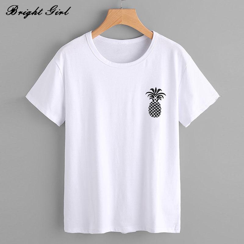 6f88abd8f42 BRIGHT GIRL Pineapple Printed Lady T Shirt Summer Casual Clothes Fashion  Girl Shirt Tops Short Sleeve T Shirt Plus Size BG17467 24 Hour Tee Shirts T  Shirts ...