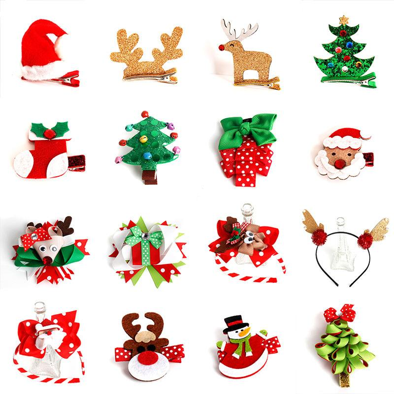10pcs Christmas Tree Gloves Hair Clip Wool Felt Snowman Hairpin Duckbill Bb Clips Rim Sweet Hair Accessories For Girls Headdress