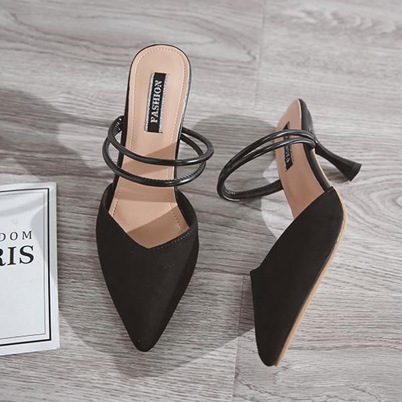 27fbde75c2e Acheter Femmes Sexy Mules À Talons Hauts Mujer 2018 Sabots Bout Pointu  Plate Forme Mules Dames Semelles En Cuir Semelles Slip Femme Sur Chaussures  Sandale ...