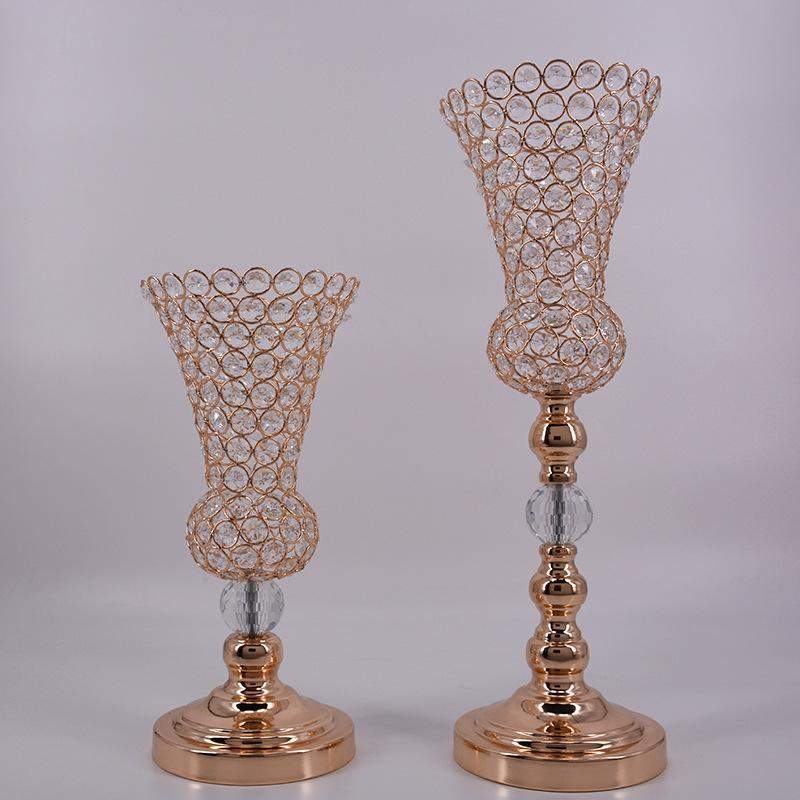 Wholesale Wedding Crystal Vase Trumpet Metal Flower Ball Stand