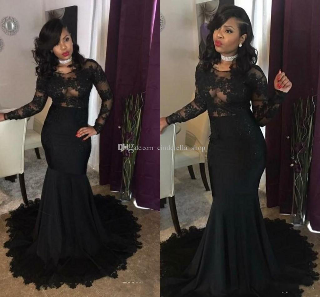 6b79189a7 2018 Sexy Black Mermaid Prom Dresses Long Sleeve Sheer Neck Appliques  Beaded Sweep Train Illusion Bodice Long Evening Party Gowns Africa Camo Prom  Dresses ...