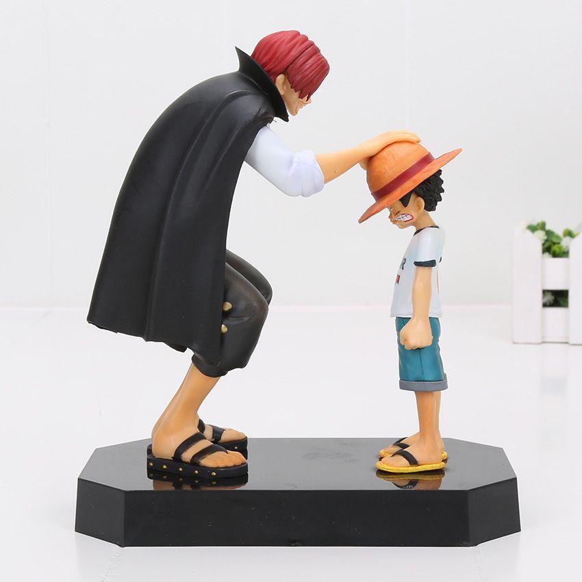 Compre 2 Pçs   Set One Piece Anime Chapéu De Palha Luffy Shanks Cabelo  Vermelho Presente Boneca Brinquedos Criança Luffy Pvc Figuras De Ação  Modelos ... e3ee74a1fcc