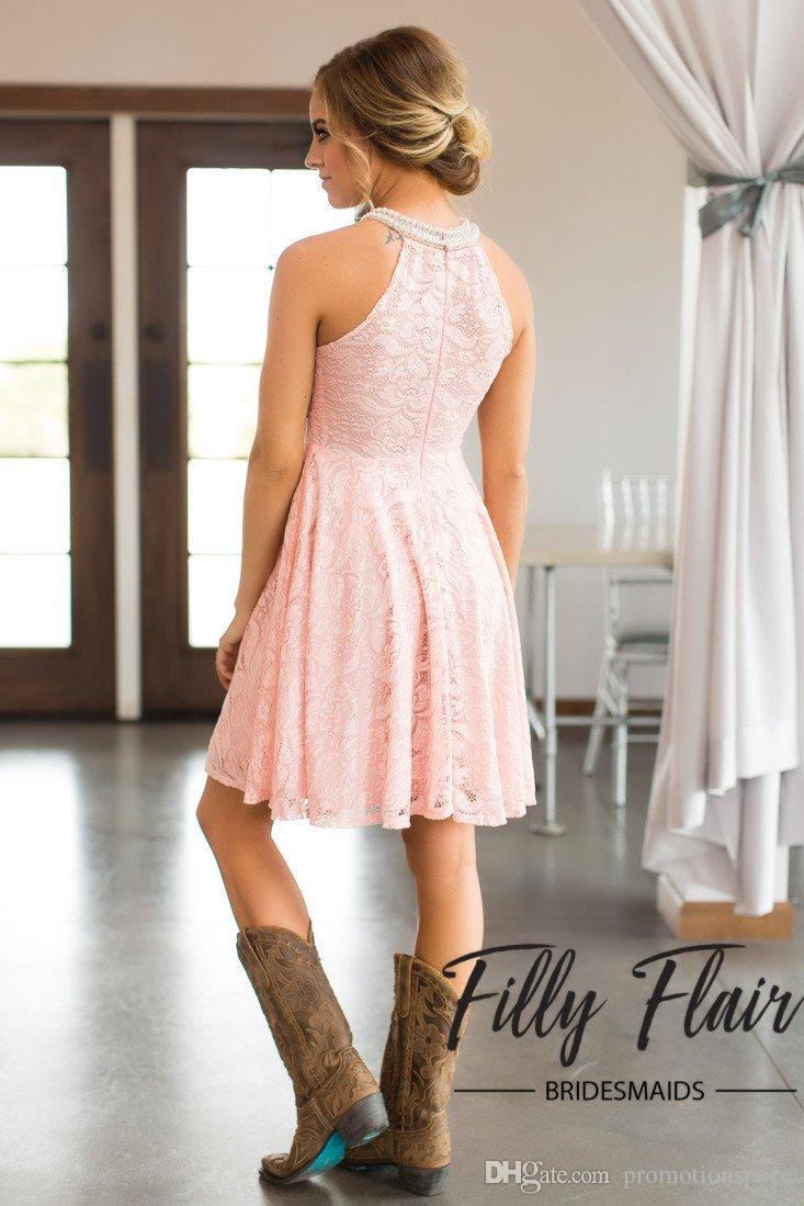2018 Ülke Kısa Dantel Gelinlik Modelleri Halter Kolsuz Şeftali Nedime Elbisesi Batı Hizmetçi Onur Elbise Custom Made Artı Boyutu