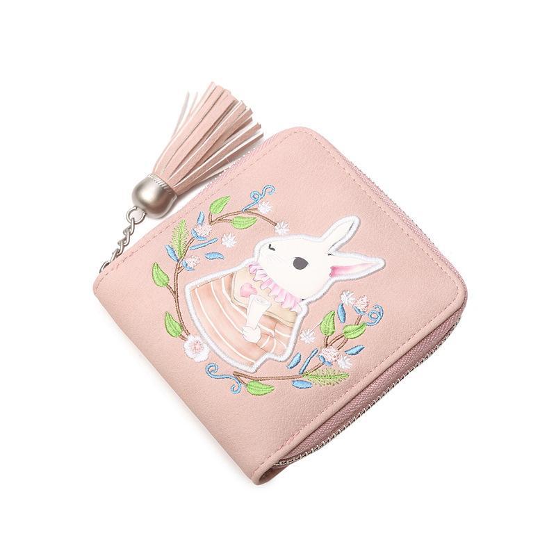 634aabaa85ef Cartoon cute little tassel zipper bunny purse female short paragraph new  small fresh wallet rabbit pu with slot change bag