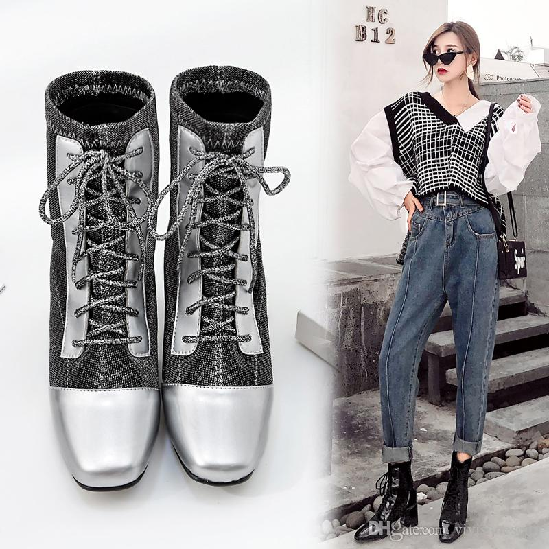 Super cool patchwork silver cloth square toes lace up thick heel ankle boots women fashion winter shoes black silver size 35 to 40
