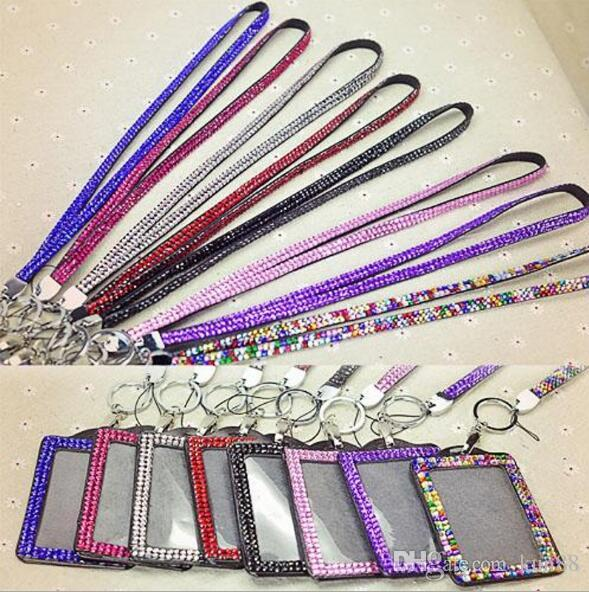 Bling Lanyard Crystal Rhinestone in Neck With Claw Clasp ID Badge Holder con scheda di lavoro
