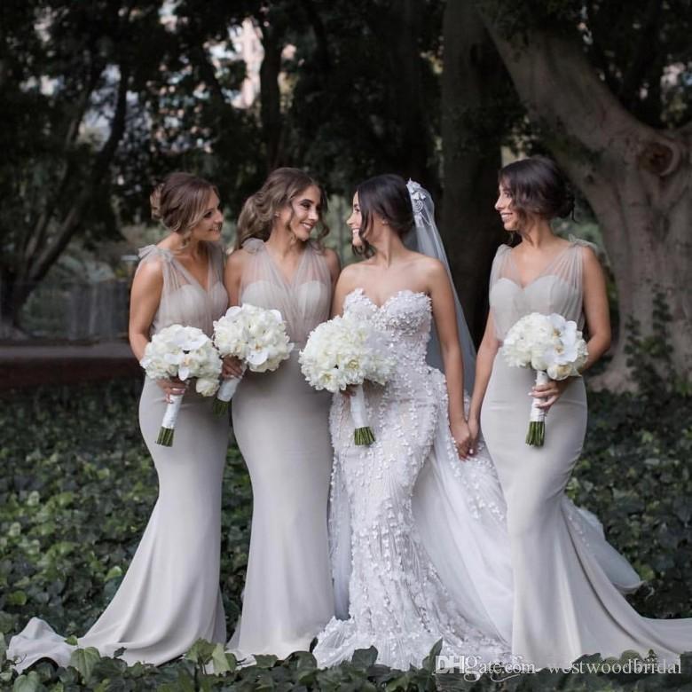 Платья для подружек невесты 2019 Платья для выпускного вечера Серый тюль Шифон Платья для подружек невесты Свадебное платье для гостей V-образным вырезом Милая на заказ