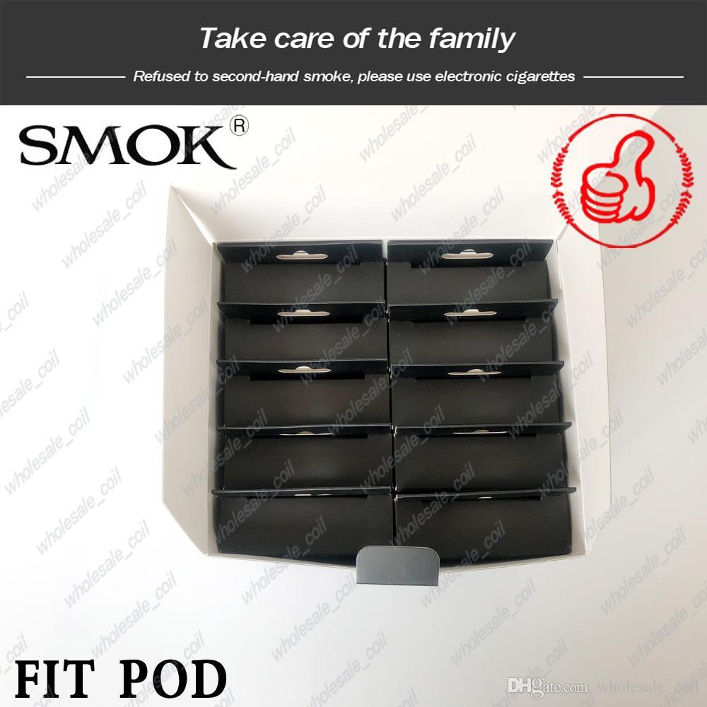 Otantik SMOK Fit Pod 2 ml Smok Fit Kiti için Yedek Pod Kartuş Yandan Dolum Deliği ile Hava tahrikli Hiçbir Kaçak Endişeleri DHL