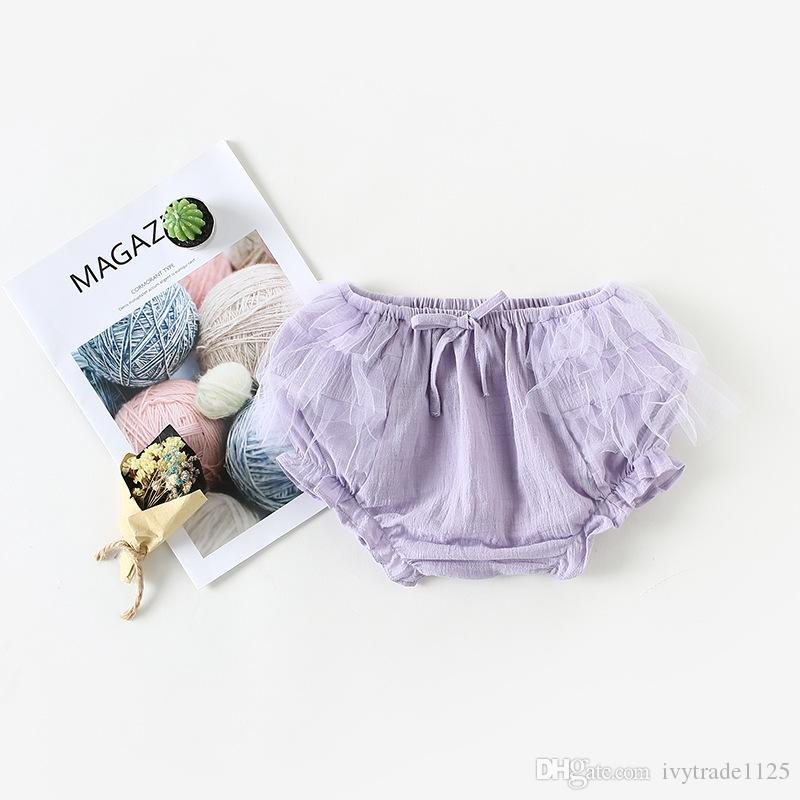 NEW arrival Baby clothes summer Girls short mesh patchwork all-match 100% cotton baby girl short