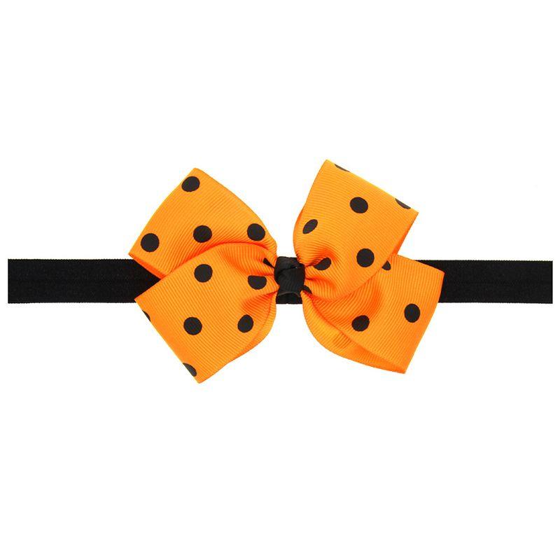 Chic Halloween Baby Headband Black Dots Orange Bow Newborn Festival Baby Headwraps