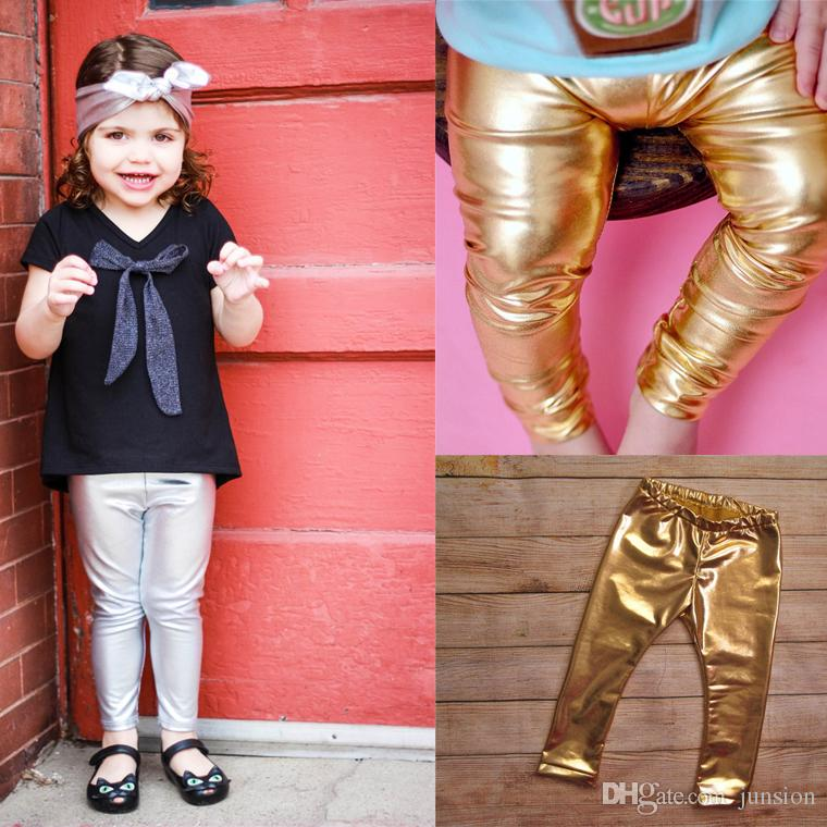 e98f748e5e7 2019 INS Baby Girls Leather Trousers Leggings 2018 Girls Princess Pants Hot  Sale Girl Shiny Gold Tight Pants Children Long Pants 1 3Years From Junsion